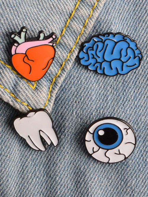 Funny Teeth Eye Brain Brooch Set - COLORMIX