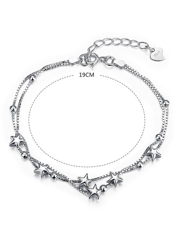 Double Layer Star Charm Bracelet - WHITE / GOLD