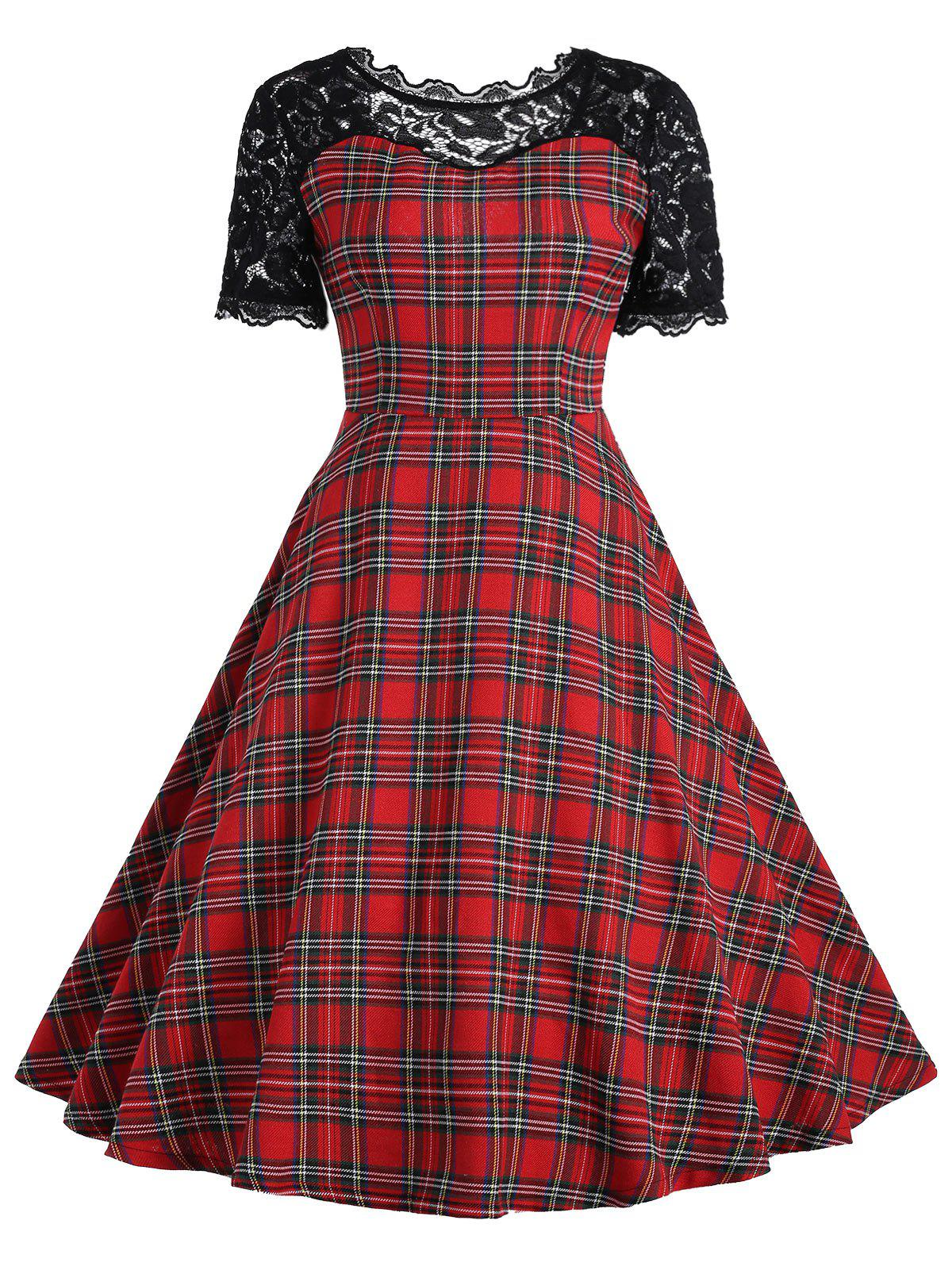 Lace Insert Tartan Vintage Dress - RED/BLACK 2XL