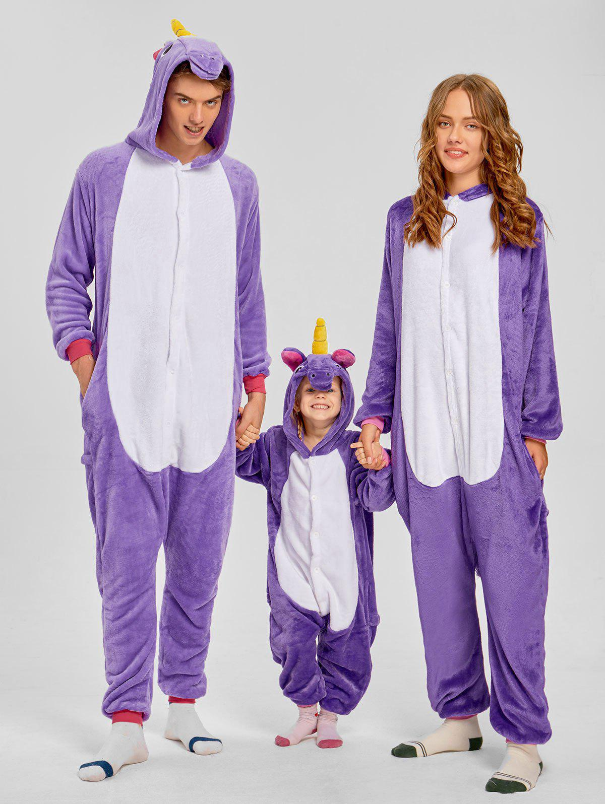 Cute Unicorn Matching Family Christmas Onesie Pajamas - PURPLE MOM M