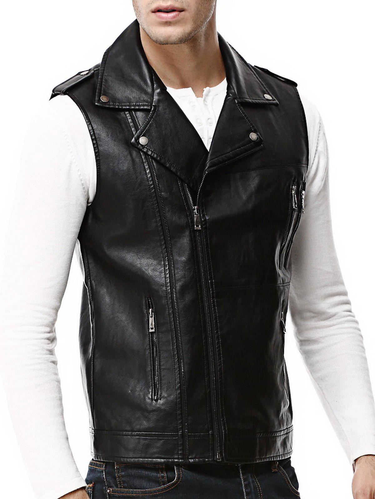 Asymmetrical Zip Epaulet Faux Leather Vest - BLACK 3XL