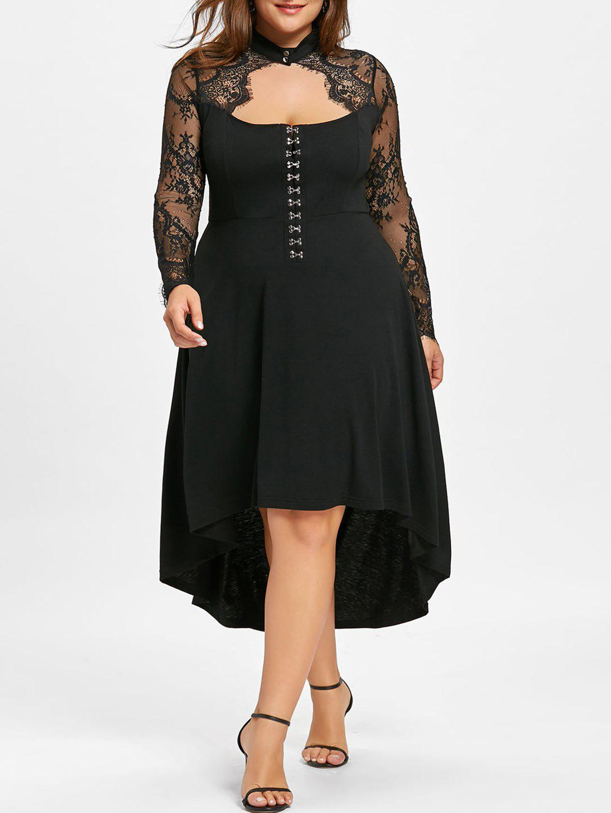 Plus Size Lace Up Sheer Dip Hem Dress - BLACK 4XL