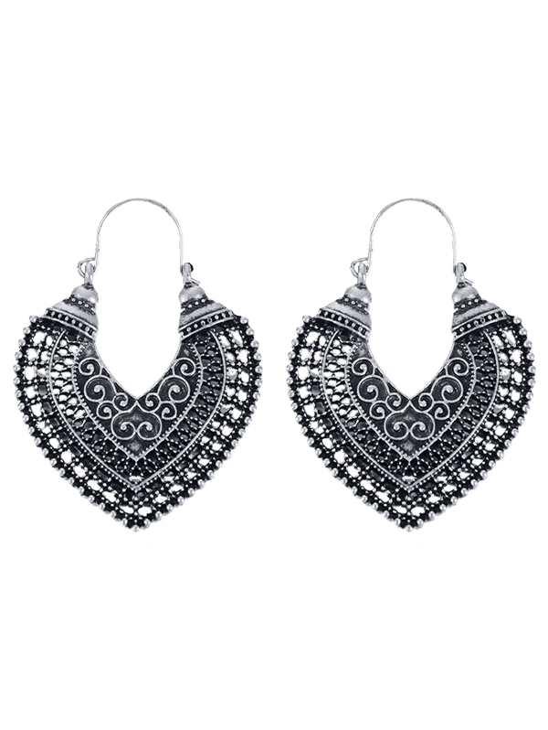 Heart Hollow Out Carve Pendant Earrings - SILVER