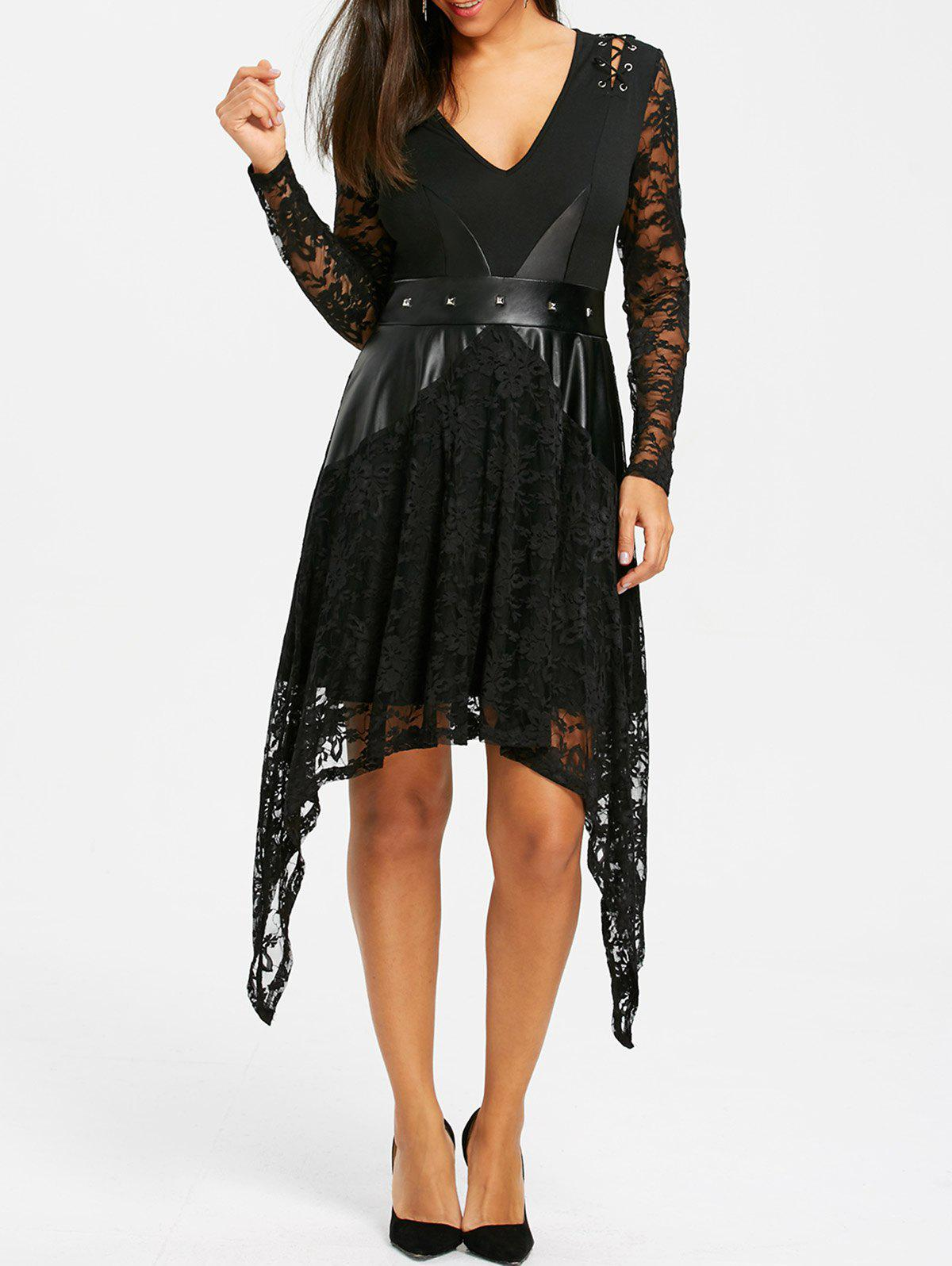 Lace Panel Crescent Hem Gothic Dress - BLACK XL
