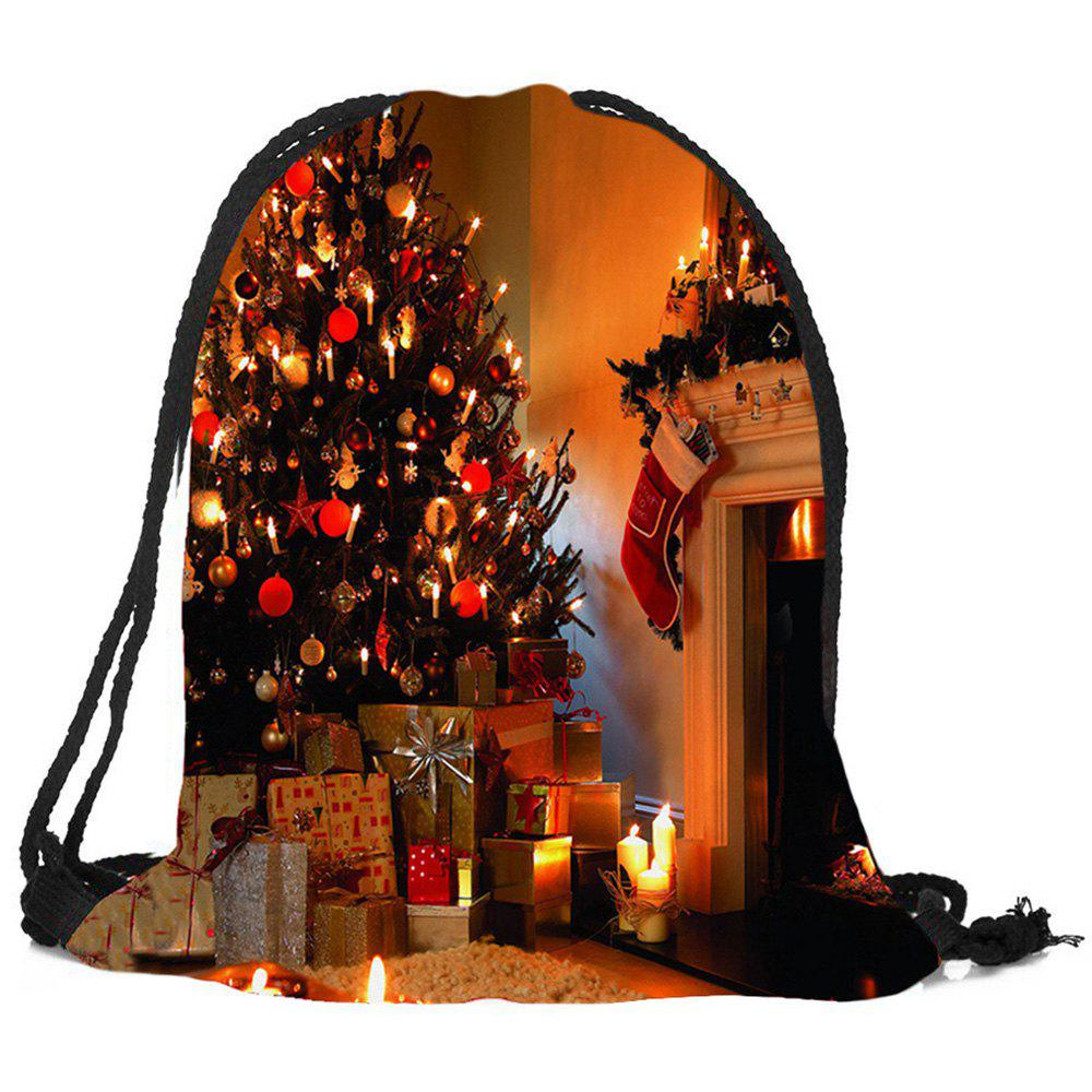 все цены на Fireplace Tree Pattern Christmas Candy Bag Drawstring Backpack