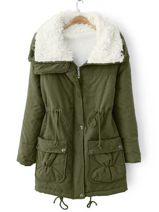 Zip Up Faux Pockets Shearling Coat - ARMY GREEN M