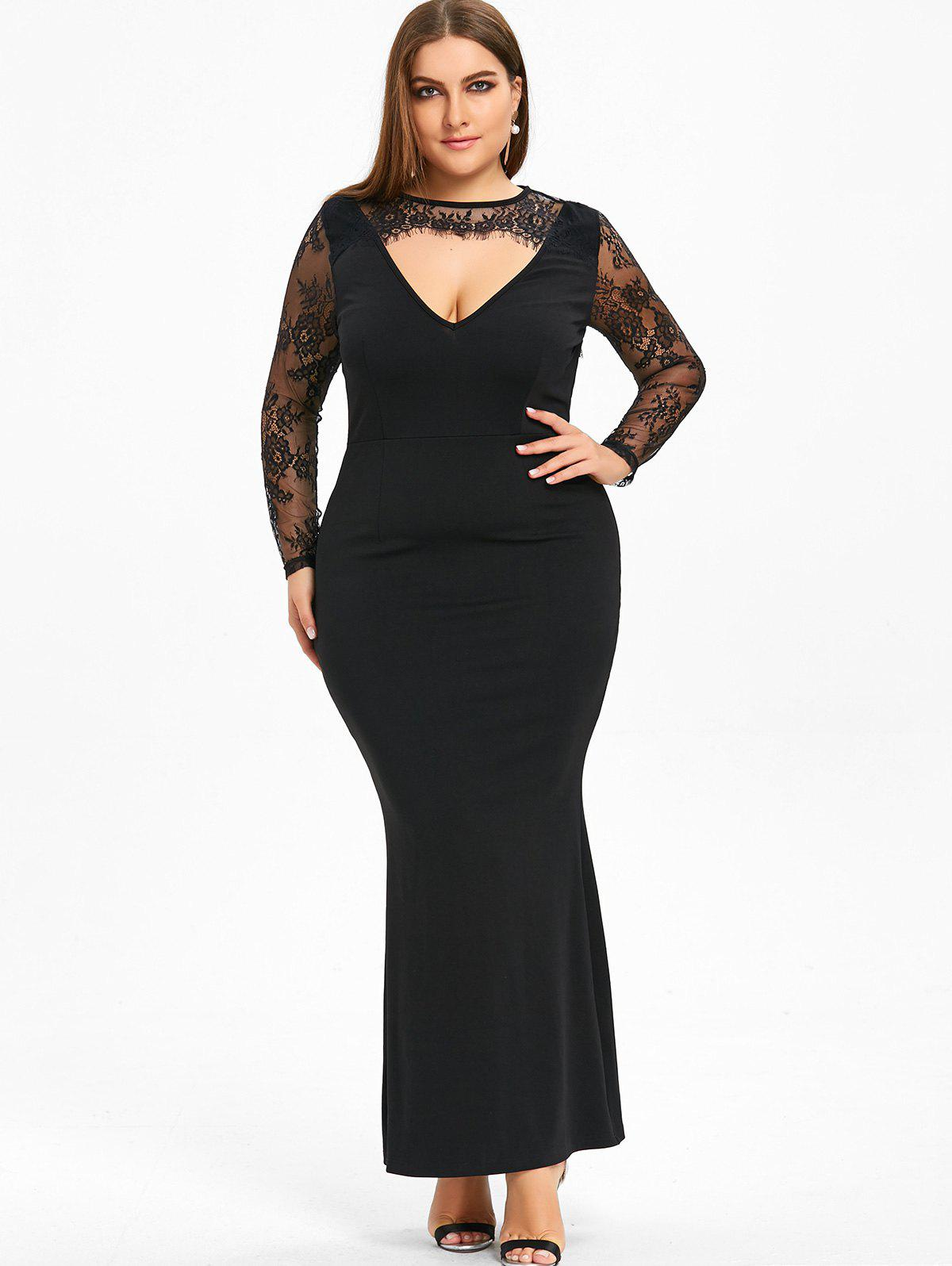 2017 plus size cut out lace sleeve bodycon dress black xl in plus