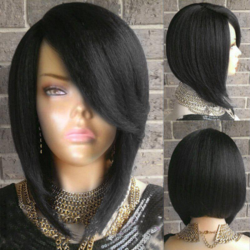 Heat Resistant Synthetic Medium Side Parting Straight Bob Wig stylish heat resistant synthetic bob