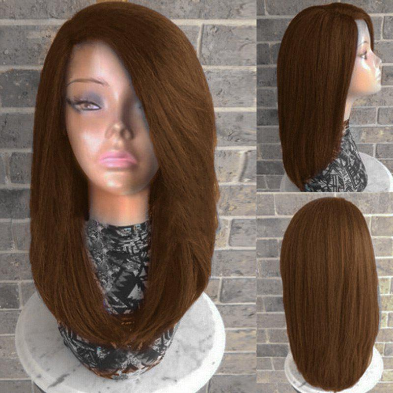 Long Side Parting Straight Heat Resistant Synthetic Fiber Wig medium long wavy heat resistant fiber hair white lace front synthetic wig