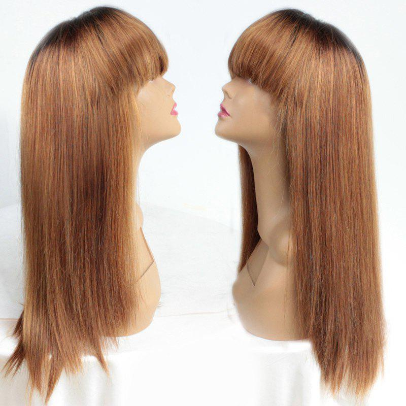 Long Neat Bang Straight Ombre Heat Resistant Synthetic Wig trendy ombre side bang long straight charming heat resistant synthetic women s cosplay wig