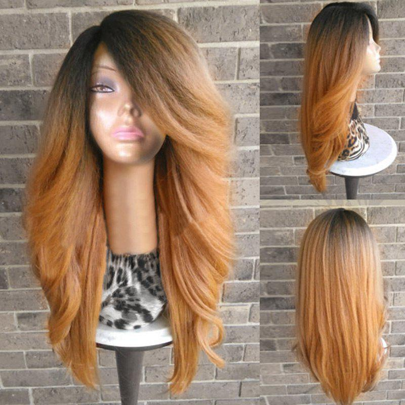 Long Side Parting Fluffy Yaki Straight Colormix Synthetic Wig long side parting straight colormix synthetic lace front wig