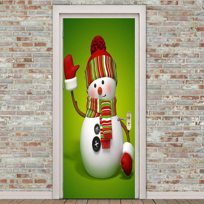 Environmental Removable Christmas Greeting Snowman Printed Door Stickers - GREEN 38.5*200CM*2PCS
