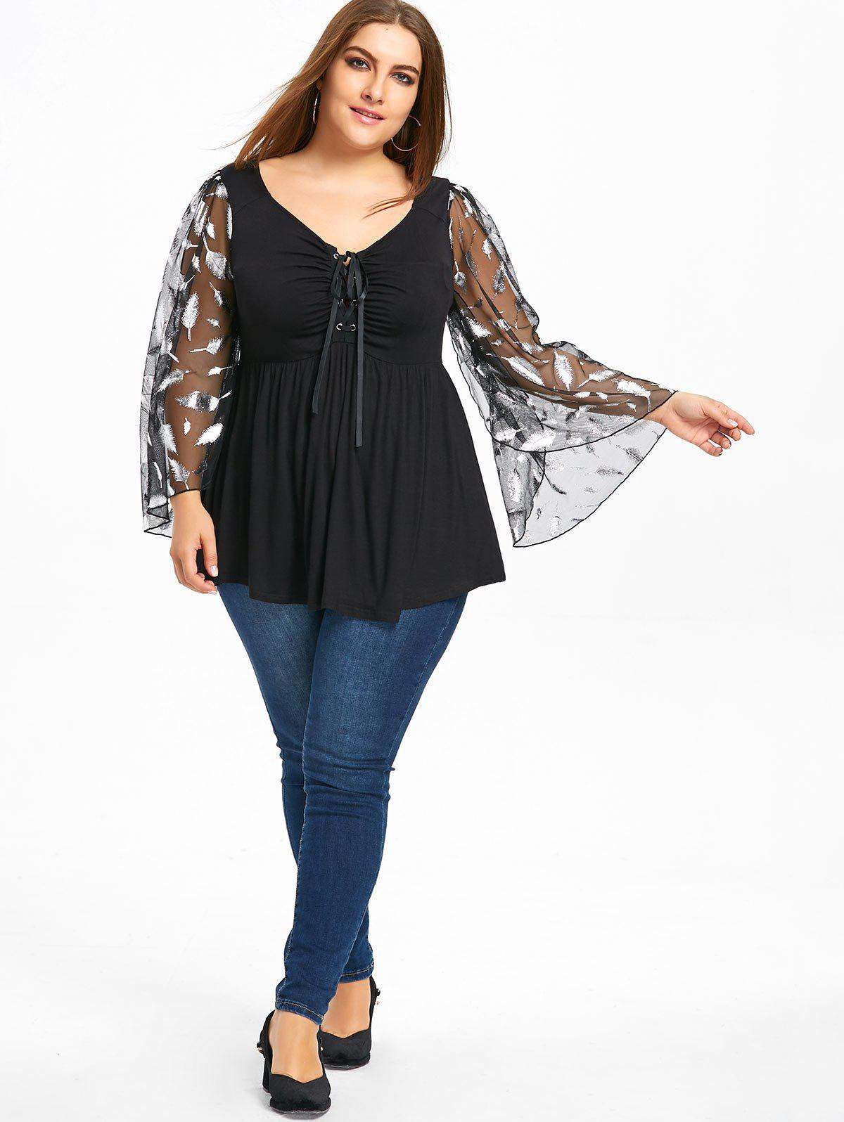 Plus Size Flare Sleeve Feather Babydoll Top - BLACK 5XL