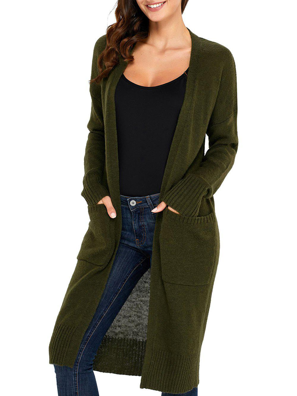 Knitted Front Pocket Longline Cardigan - ARMY GREEN XL