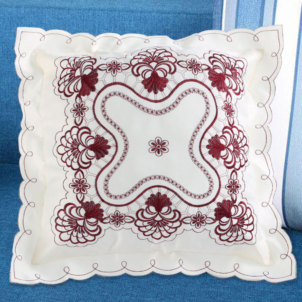 Embroidered Polyester Decorative Throw Pillowcase - DARK RED W18 INCH * L18 INCH