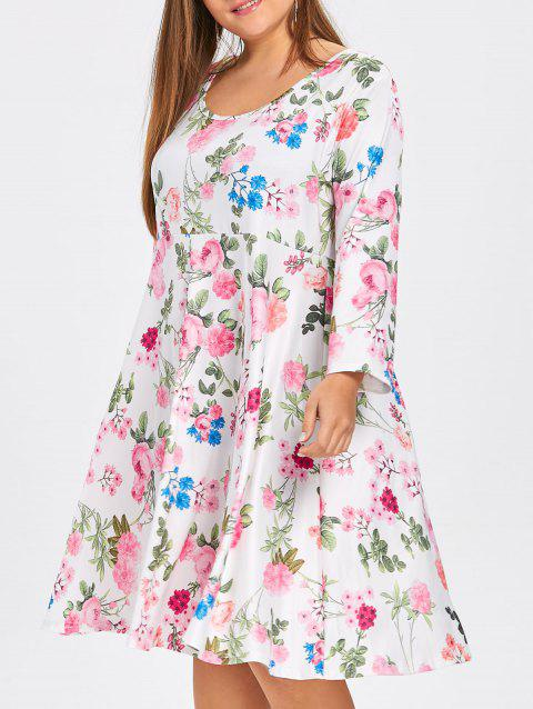 Floral Plus Size Skater Dress with Sleeves