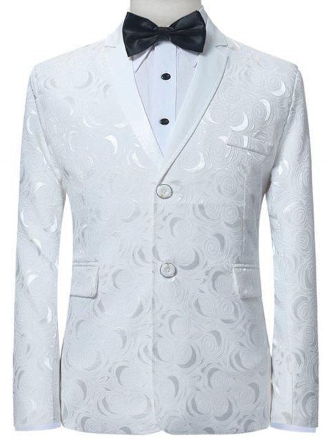 Single Breasted Lapel Flap Pocket Jacquard Blazer - WHITE S