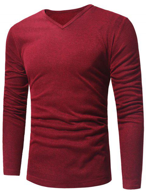 V Neck Classic Pullover Sweater - WINE RED L