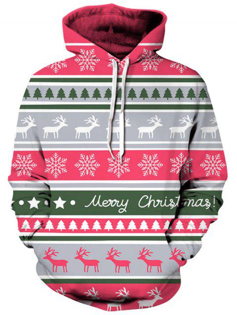 Snowflake and Deer Print Christmas Hoodie - RED XL