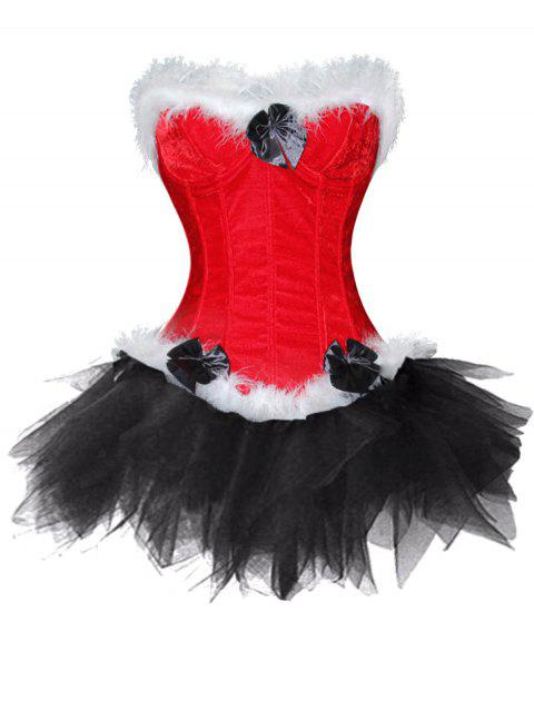 Lingerie Christmas Santa Claus Two Piece Corset Dress - BLACK XL