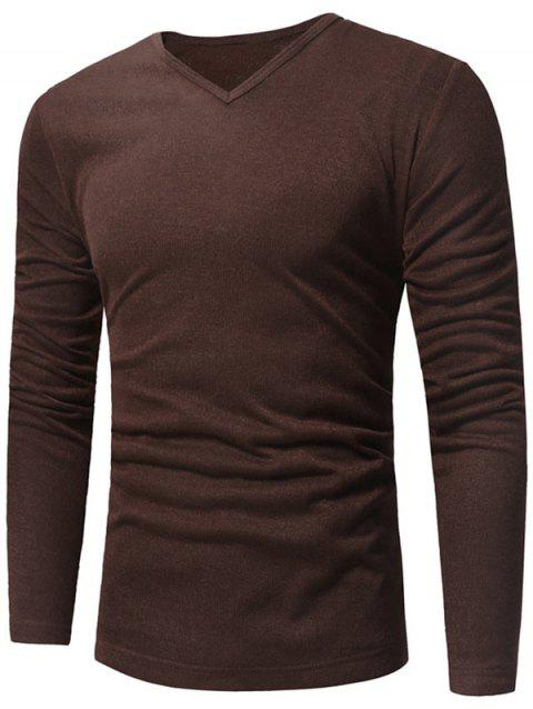 V Neck Classic Pullover Sweater - COFFEE L