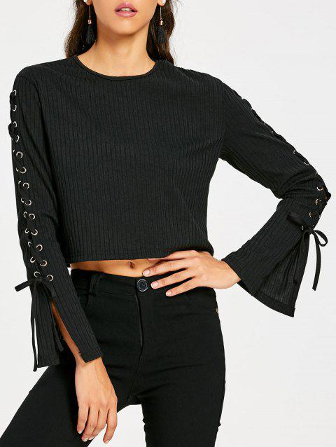 Lace Up Sleeve Ribbed Crop Top - BLACK M