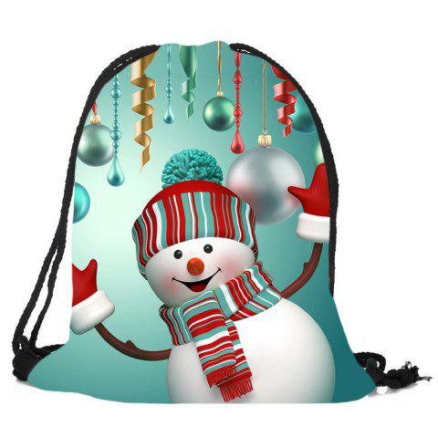 Drawstring Christmas Snowman Printed Candy Storage Backpack - COLORFUL