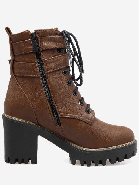 Platform Chunky Heel Ankle Boots - DEEP BROWN 38
