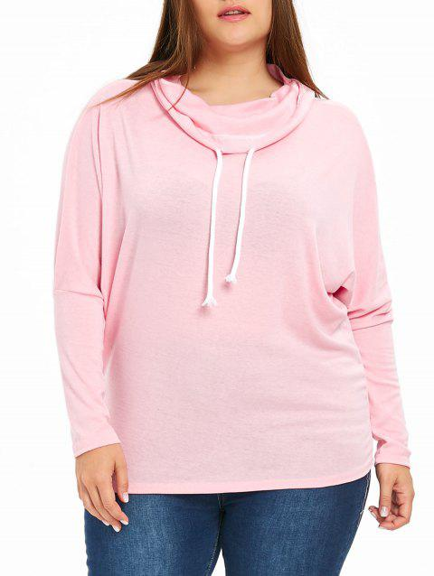 Drawstring Plus Size Cowl Neck Sweatshirt - PINK 3XL