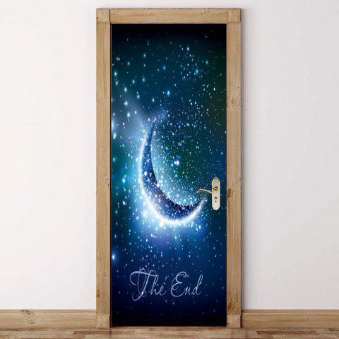 Starry Sky Moon Pattern Door Art Stickers - BLUE 38.5*200CM*2PCS