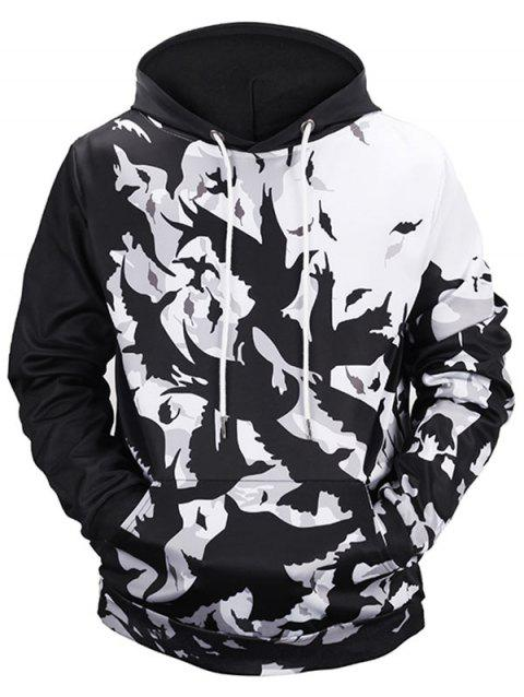 Kangaroo Pocket Birds Print Pullover Hoodie - WHITE/BLACK 2XL