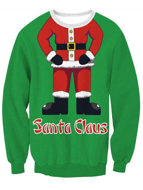 Santa Claus Body 3D Print Pullover Sweatshirt - GREEN 2XL