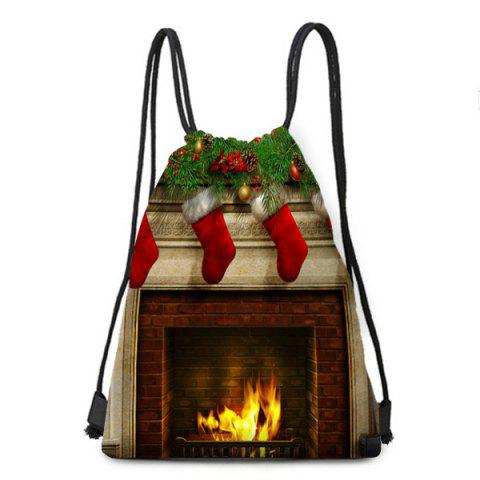 Christmas Fireplace Printed Drawstring Candy Storage Backbag - COLORFUL