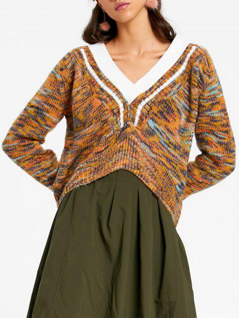 High Low V Neck Chunky Sweater - COLORMIX ONE SIZE