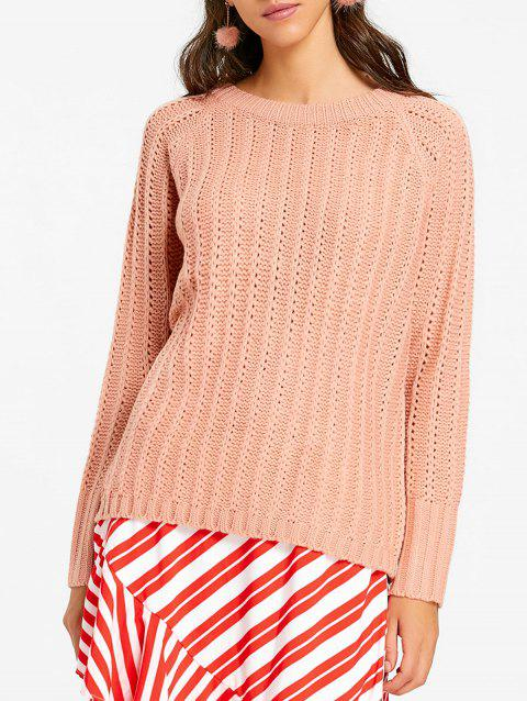 Raglan Sleeve Chunky Pull - Rose Léger ONE SIZE