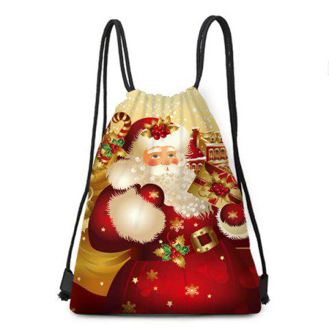 Christmas Santa Gift Pattern Candy Bag Drawstring Backpack - COLORFUL