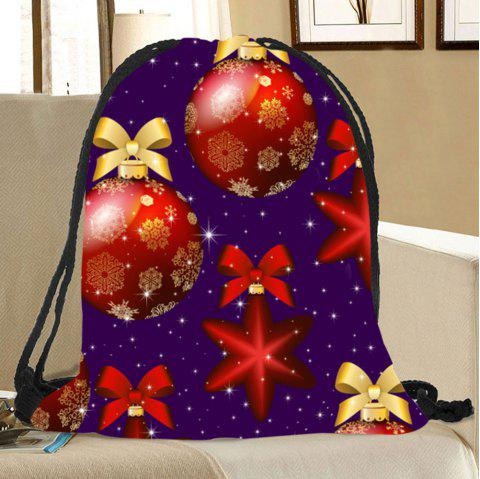 Christmas Baubles Pattern Candy Drawstring Storage Bag - RED/BLUE