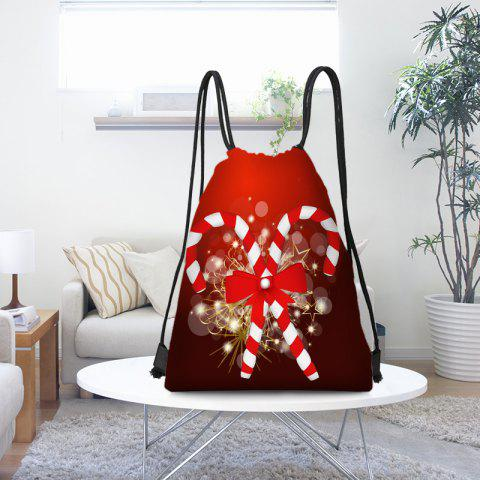 Candy Cane Patterned Drawstring Gift Bag Storage Backpack - RED/WHITE