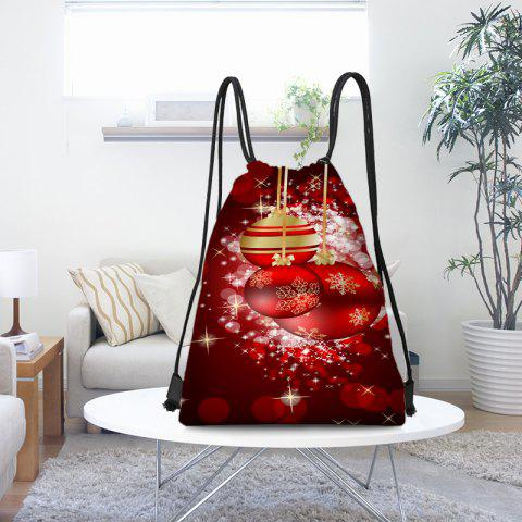 Christmas Hanging Balls Pattern Candy Drawstring Storage Bag - DEEP RED