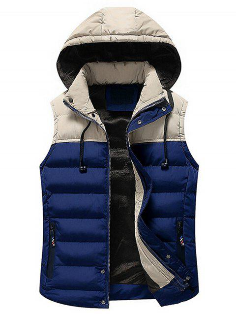 Zip Up Color Block Hooded Padded Vest - ROYAL 3XL