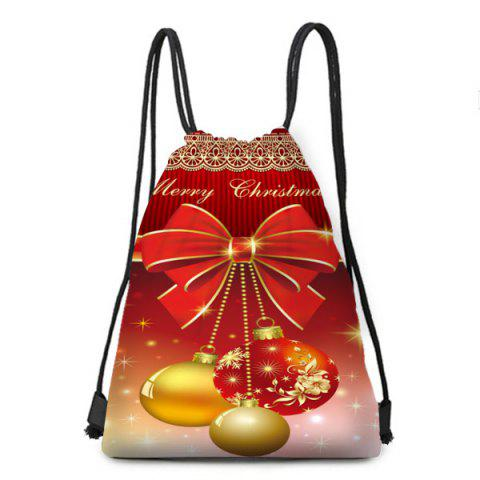 Christmas Bowknot Ball Ornaments Printed Drawstring Backpack - COLORFUL