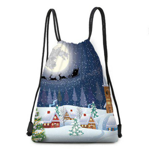 Christmas Snowy Night Printed Drawstring Backpack - COLORFUL