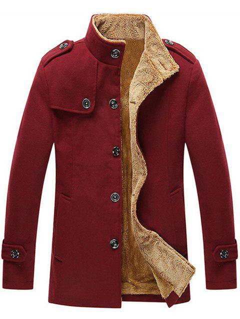 Epaulet Singe Breasted Plush Lined Fleece Jacket - RED XL