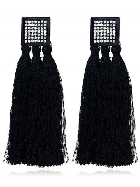 Rhinestoned Geometric Tassel Drop Earrings - BLACK