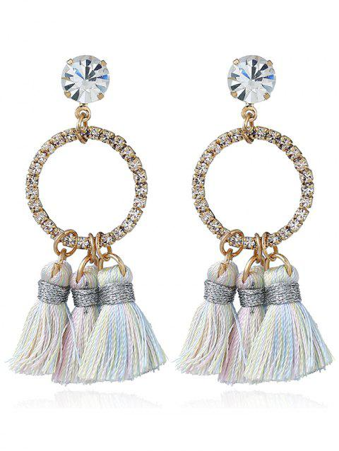 Sparkly Rhinestone Circle Tassel Drop Earrings - COLORMIX