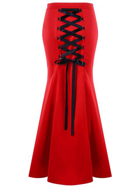 Lace Up Maxi Fishtail Skirt - RED 2XL