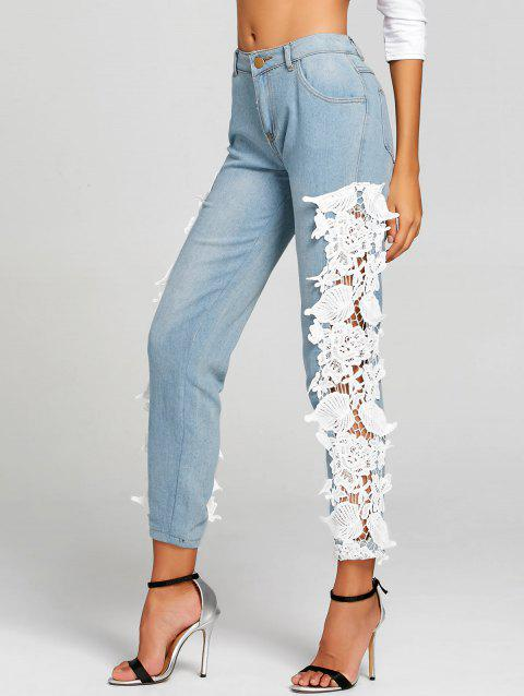 Light Wash Lace Panel Skinny Jeans - WHITE 2XL