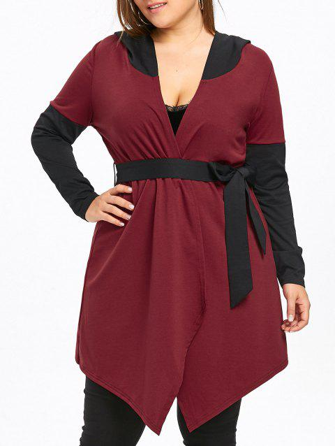 Plus Size Two Tone Hooded Coat with Belt - WINE RED 5XL