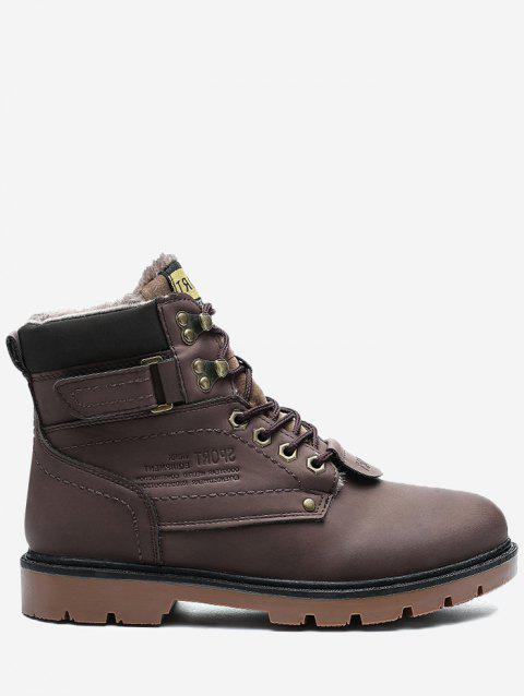 Lace Up Faux-fur Lined Chukka Boots - BROWN 42