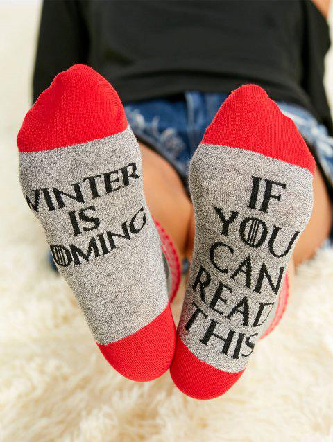 Pair of Contrast Stripe Letter Graphic Socks - RED